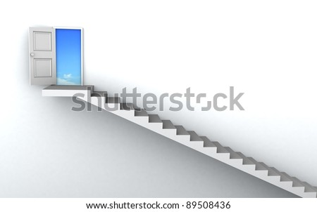 Open door to business success with 3d stairs.