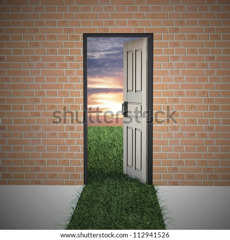 Open door to new life from brick wall. Hope, success, new life and world concepts. - stock photo