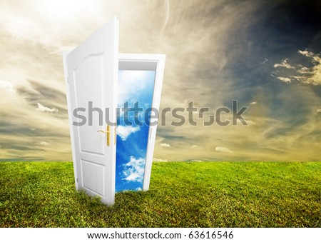 Open door to new life on the field. Hope, success, new life and world concepts. Other original versions of this concept available in my portfolio. - stock photo