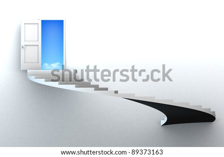 Open door to success with 3d stairs. Included clipping path in the door, so you can easily cut it out and place your own subject. - stock photo