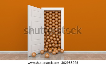 open door with basket ball - stock photo