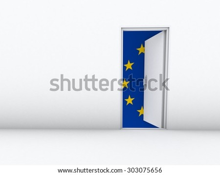 open door with european union flag in background