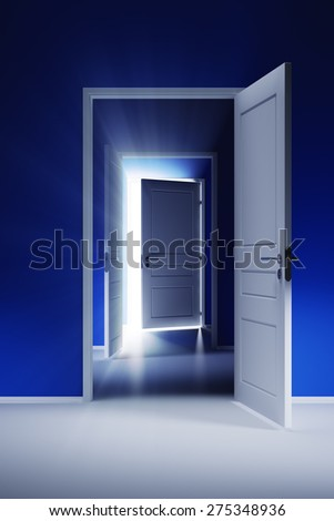 Open door with rays of light in the corridor with blue walls - stock photo