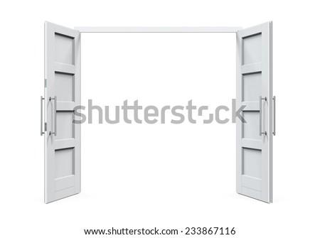 Open Doors Isolated - stock photo