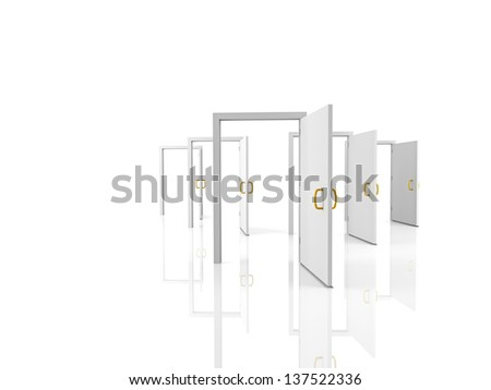 Open doors - welcome, choice, opportunity concept - stock photo
