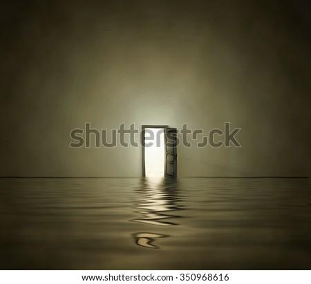Open doorway in surreal space - stock photo