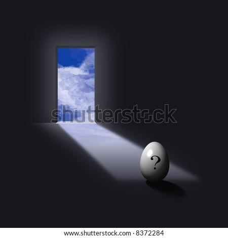 Open doorways light reveals question egg - stock photo