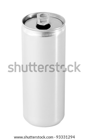 Open drink can from blank aluminum - stock photo