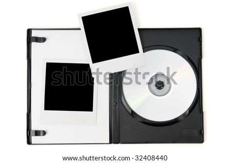 Open DVD case and instant photo prints isolated on a white