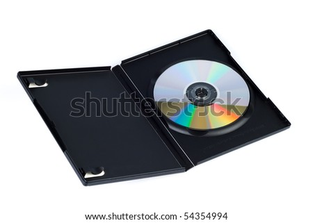 open dvd or cd case with blank disk - stock photo