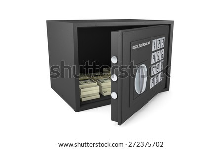 Open electronic safe isolated on white with clipping path - stock photo