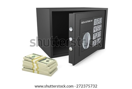 Open electronic safe with stack of money isolated on white with clipping path - stock photo