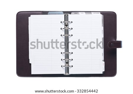 Open elegant leather organizer with blank pages isolated on white background - stock photo
