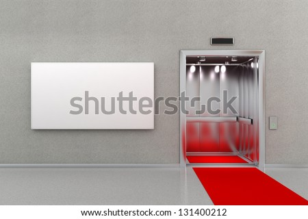 Open elevator in business lobby with a red carpet. The billboard next to the elevator is blank for your custom message. - stock photo