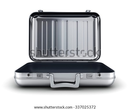 Open empty and steel case (done in 3d, cgi)  - stock photo