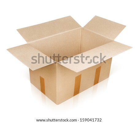 Open empty brown cardboard box isolated on white with clipping path - stock photo