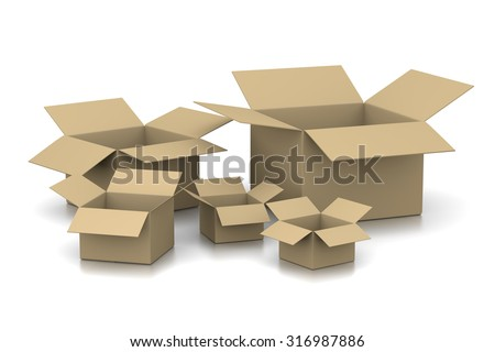 Open Empty Cardboard Boxes on White Background 3D Illustration - stock photo