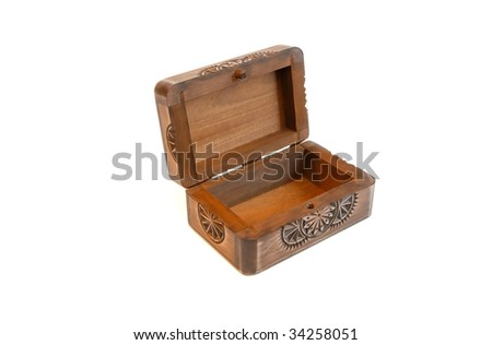 Open empty carved wooden casket isolated