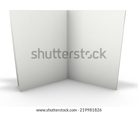 open empty 3d publication standing with shadow, empty copy space for your information, 3d render isolated on white - stock photo