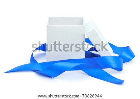 Open empty gift box and blue ribbon. Isolated. - stock photo