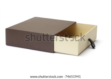 Open empty gift box isolated on white background - stock photo