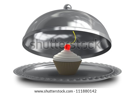 open empty metal silver platter or cloche with cup-cake creme fraiche and cherry isolated on white background 3d render - stock photo