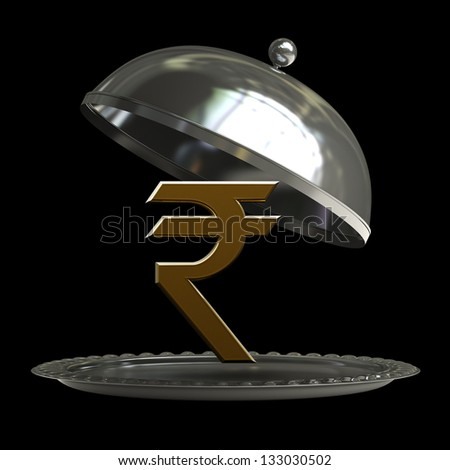 open empty metal silver platter or cloche with Indian rupee symbol isolated on black background 3d render - stock photo