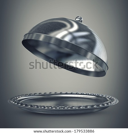 open empty metal silver platter or cloche with space to place object. High resolution 3D image  - stock photo