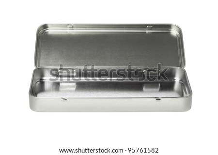 Open Empty Pencil Box on White Background