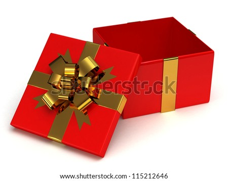Open, empty red gift box with gold bow on white background - stock photo