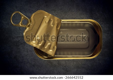 Open Empty Sardine Fish Tin Can on Grunge Gray Background, Top View - stock photo