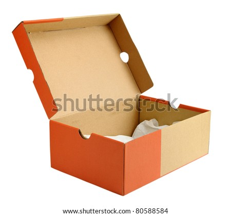 Open empty shoe cardboard box isolated on white background - stock photo