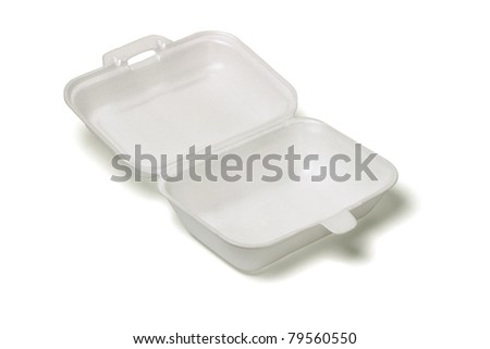 Open empty Styrofoam takeaway box on white background