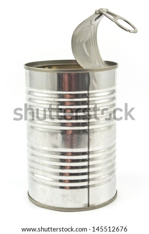 Open empty tin can isolated on white background - stock photo