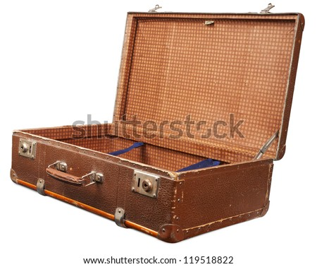 Open empty vintage suitcase isolated. Clipping path included. - stock photo