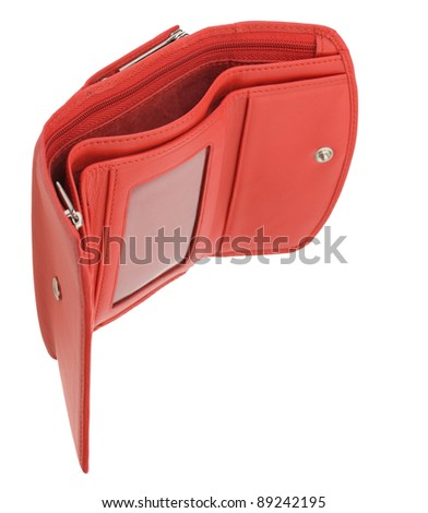 Open empty wallet. It is isolated on a white background