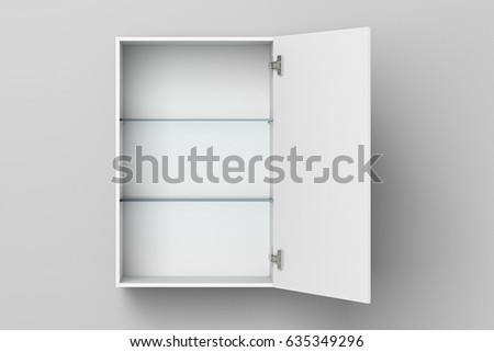 open empty white bathroom cabinet isolated on white wall with clipping path 3d