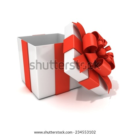 Open, empty, white gift box with red ribbon, 3D render isolated on white background - stock photo