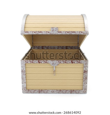Open empty wooden chest isolated on white background. - stock photo