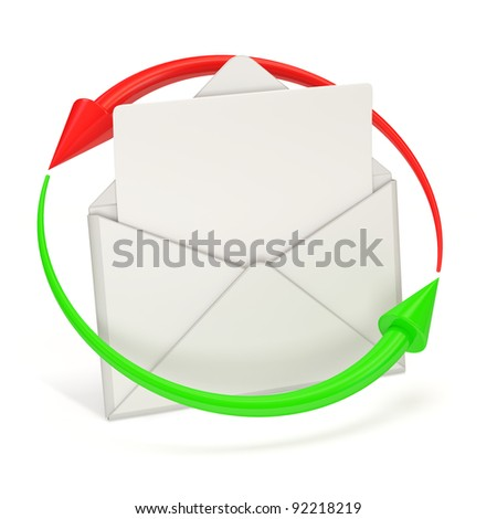 Open Envelope and blank letter with arrows on white background - stock photo