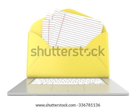 Open envelope and blank lined paper on laptop. Front view. 3D render illustration isolated on white background - stock photo