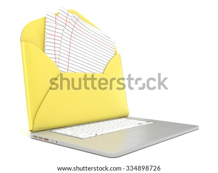 Open envelope and blank lined paper on laptop. Side view. 3D render illustration isolated on white background - stock photo