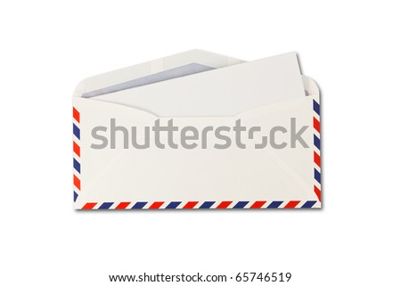open Envelope by air mail and paper  isolated on white background - stock photo