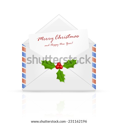 Open envelope mail with Christmas congratulation and holly berry, illustration. - stock photo
