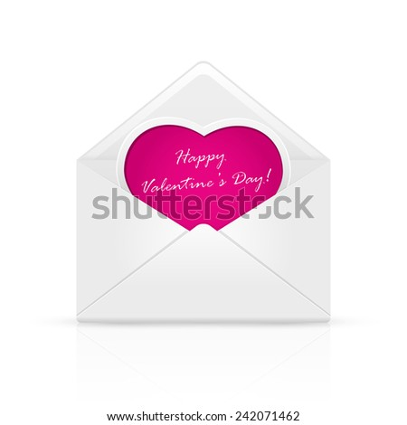 Open envelope mail with Valentines congratulation on pink heart, illustration. - stock photo