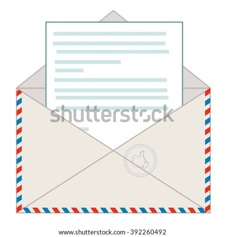 Open envelope with a letter. Stock illustration - stock photo