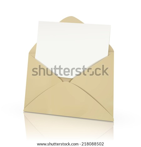 open envelope with blank card in it isolated on white  - stock photo