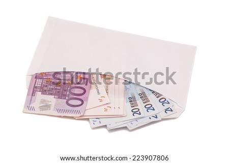 Open envelope with euro banknotes on a white background  - stock photo