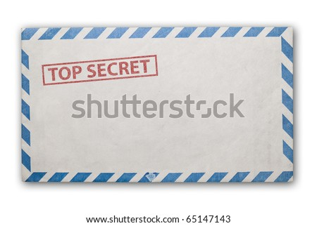 Open  envelope with top secret stamp, clipping path excludes the shadow. - stock photo