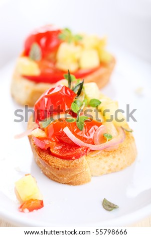 Open-face sandwich with vegetables
